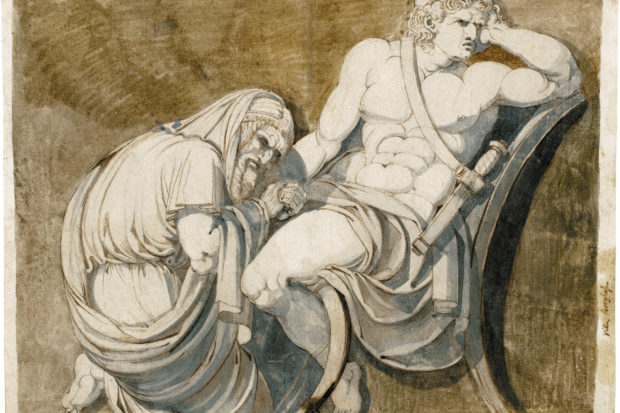 'King Priam Begging Achilles for the Body of Hector'; drawing by Henry Fuseli, circa 1770–1771