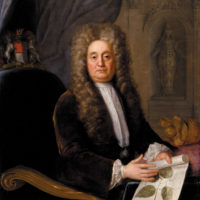 Hans Sloane during his presidency of the Royal Society, with an illustration of Jamaican lagetto; portrait by Stephen Slaughter, 1736