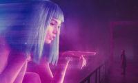 Ana de Armas as Joi and Ryan Gosling as K in Denis Villeneuve's Blade Runner 2049, 2017