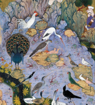 'The Conference of the Birds'; detail of an illustration by Habiballah of Sava from a Persian manuscript of the poem by Farid ud-Din Attar, circa 1600