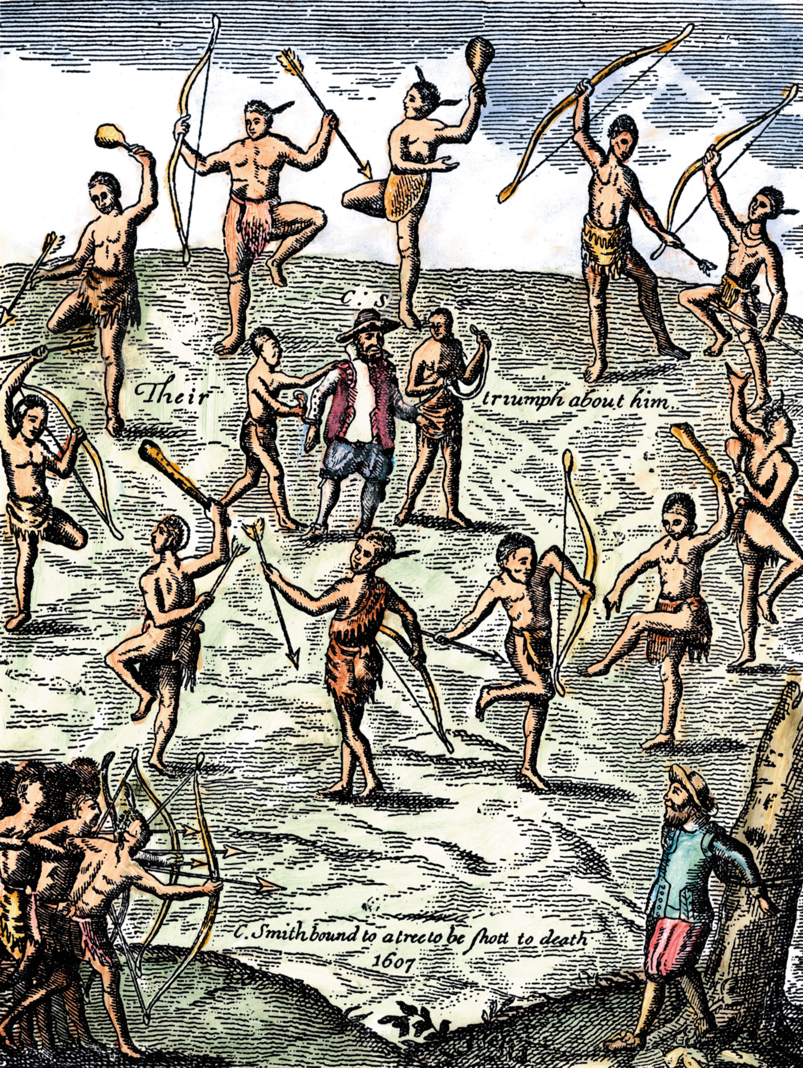 Captain John Smith taken captive by the Powhatan Native Americans; color engraving from Captain Smith's Generall Historie of Virginia, 1624