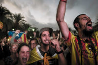 Supporters of Catalan independence outside the Catalan parliament in Barcelona during a speech by Premier Carles Puigdemont on whether he would declare independence from Spain, October 10, 2017