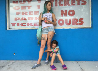 Bria Vinaite as Halley and Brooklynn Prince as Moonee in Sean Baker's The Florida Project, 2017