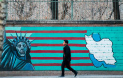 A mural on the wall of the former US embassy, Tehran, 2015