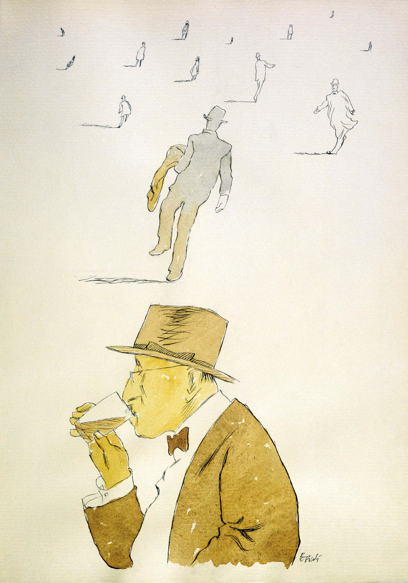 Fernando Pessoa; illustration by Tullio Pericoli, 2002