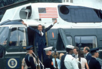 Richard Nixon leaving the White House following his resignation, August 9, 1974