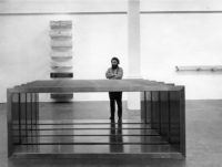 Donald Judd at an exhibition of his work at the Whitechapel Gallery, London, 1970