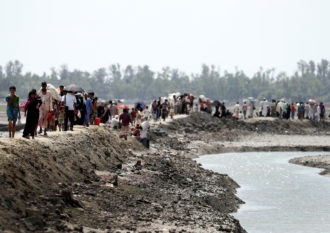 Rohingya refugees walking to a camp in Cox's Bazar, Bangladesh, October 2, 2017