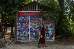 Propaganda depicting the alleged abuses of Buddhists by Muslims, displayed near the monastery of Ashin Wirathu, an anti-Muslim monk, Mandalay, Myanmar, May 31, 2017