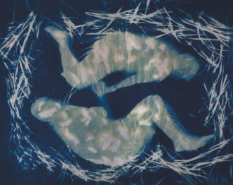 Vicki Reed: The Nest, 2015; from 'What We Leave Behind,' a series of lifesize cyanotype portraits on fabric that Reed made of her parents, in their late eighties and suffering from memory loss and dementia, before their move to a nursing home