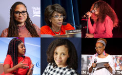 Clockwise from the top left: director Ava DuVernay, 2017; California Representative Maxine Waters, 2017; performer Solange, 2017; Black Lives Matter co-founder Alicia Garza, 2015; writer and professor Jesmyn Ward, 2014; writer and professor Kimberlé Crenshaw, 2015