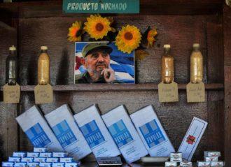 A portrait of the late Cuban leader Fidel Castro at a grocery store, Santiago de Cuba, June 20, 2017