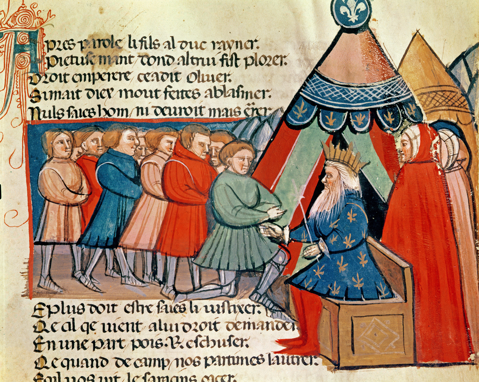 An illustration showing knights pledging their allegiance to Charlemagne from a Venetian codex, fourteenth century