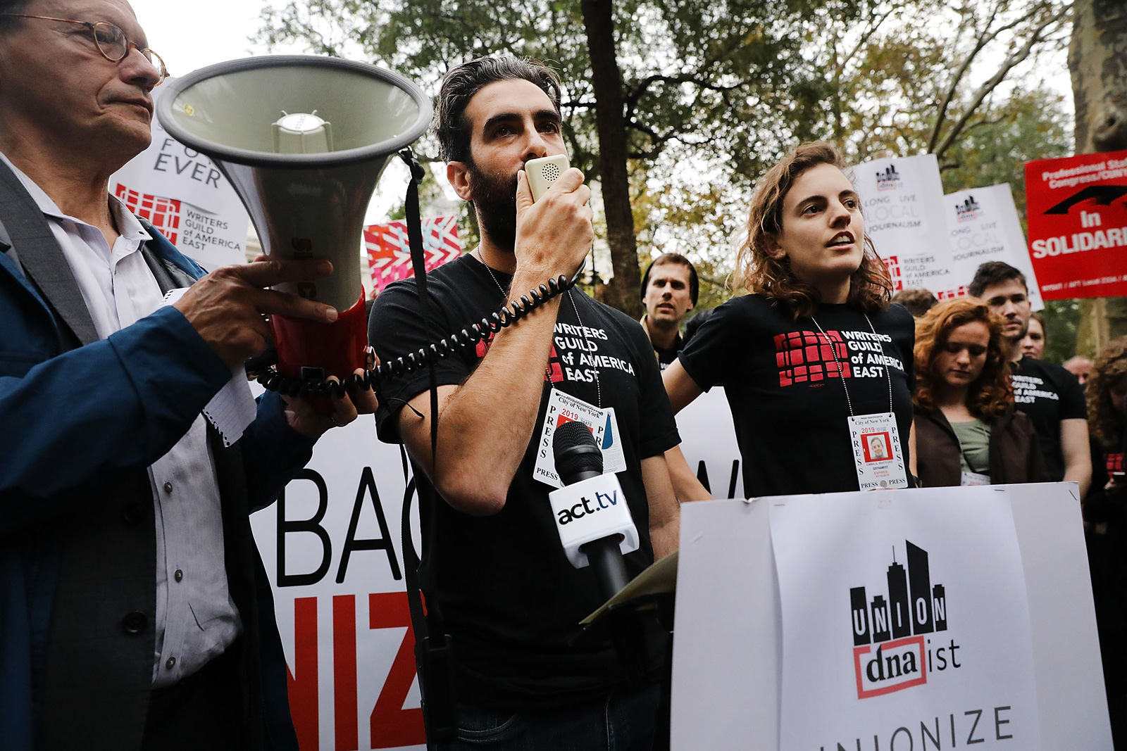 Former DNAinfo reporter Ben Fractenberg speaking at a rally at City Hall Park hosted by the Writers Guild of America to support the journalists and other staff members who lost their jobs after they voted to form a union, New York City, November 6, 2017