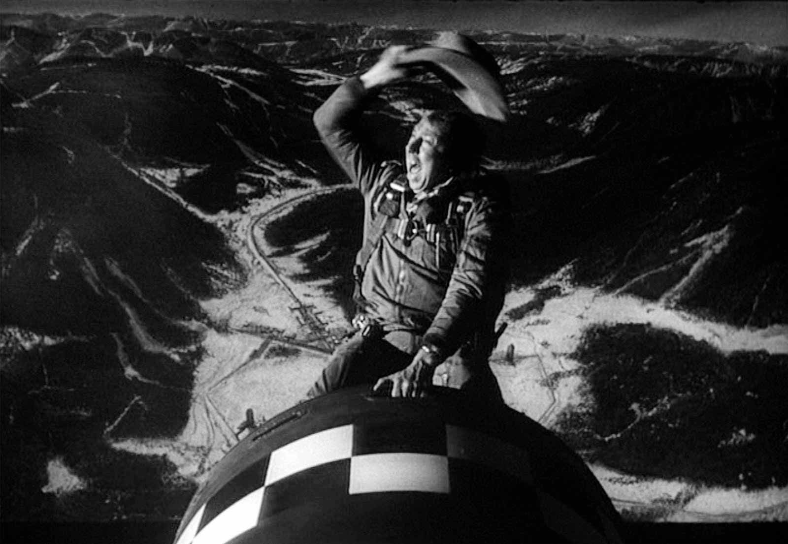 A still showing Slim Pickens from Stanley Kubrick's Dr. Strangelove or: How I Learned to Stop Worrying and Love the Bomb, 1964