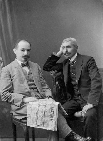 Mark Mazower's grandfather Max Mazower (left), Saratov, Russia, 1912