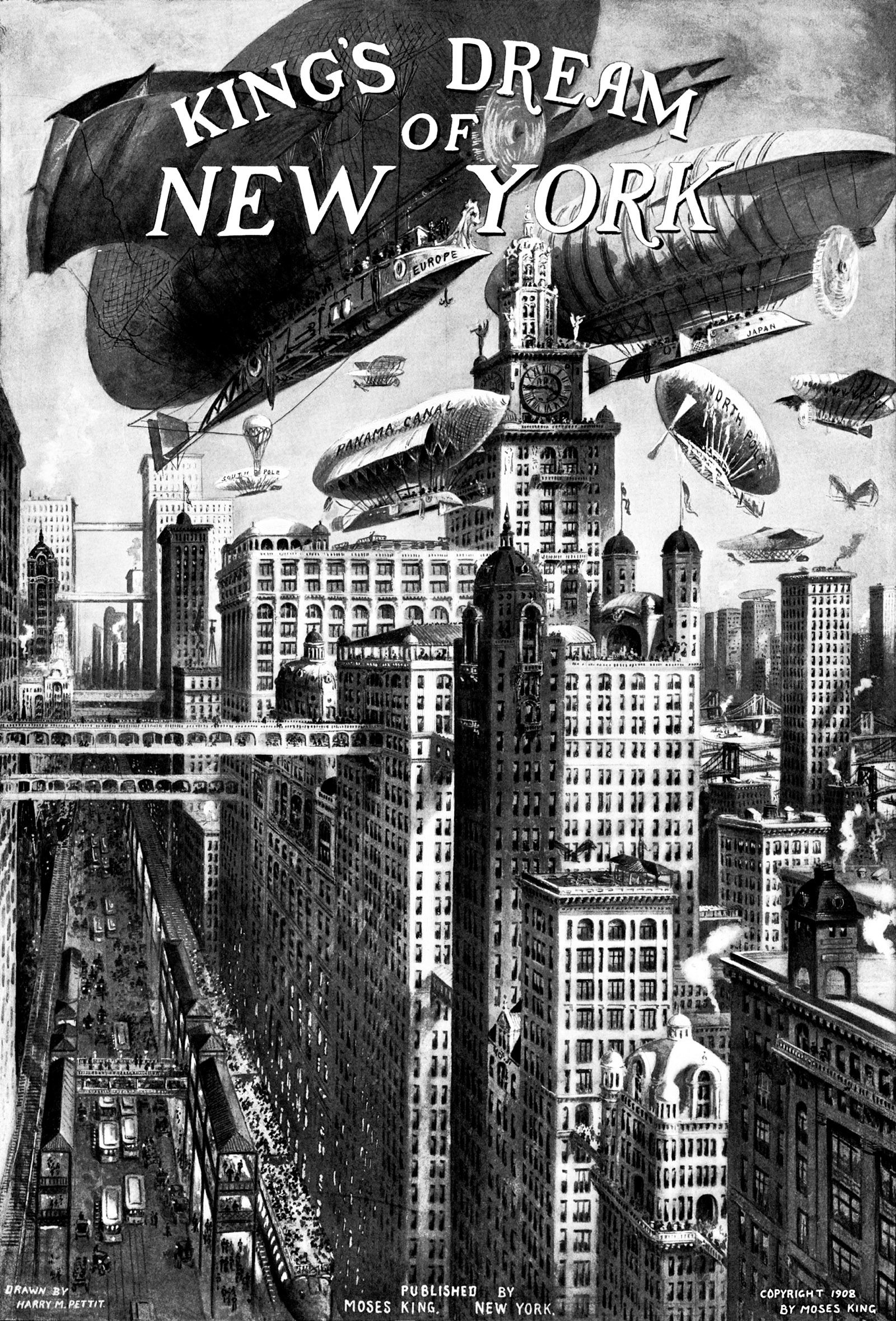 Illustration by Harry M. Pettit from Moses King's guidebook Views of New York, 1908
