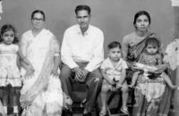Sujatha Gidla, far left, with her family, Andhra Pradesh, India, 1966. Her mother, Manjula, is at right.