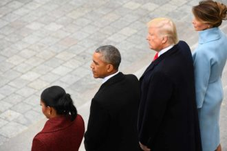 Former First Lady Michelle Obama, former President Barack Obama, President Donald Trump, and First Lady Melania Trump at the 2017 Presidential Inauguration, Washington, D.C., January 20, 2017
