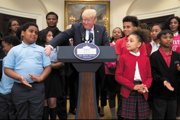 President Trump with charter and private school students at the White House, May 2017