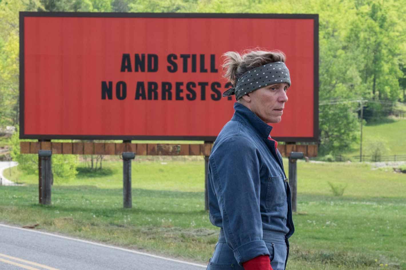 Frances McDormand as Mildred Hayes in Martin McDonagh's Three Billboards Outside Ebbing, Missouri, 2017