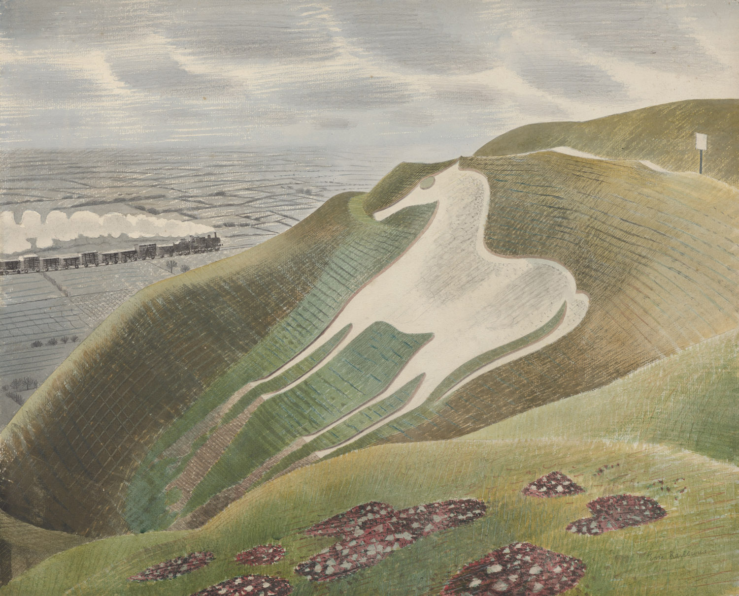 Eric Ravilious, The Westbury Horse, 1939. Towner Art Gallery, Eastbourne