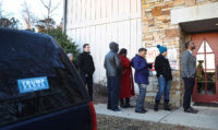 Voters in Birmingham waiting in line to cast their ballots in Alabama's special election, on December 12, 2017.