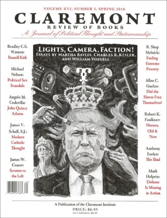 The cover of the spring 2016 issue of the Claremont Review of Books