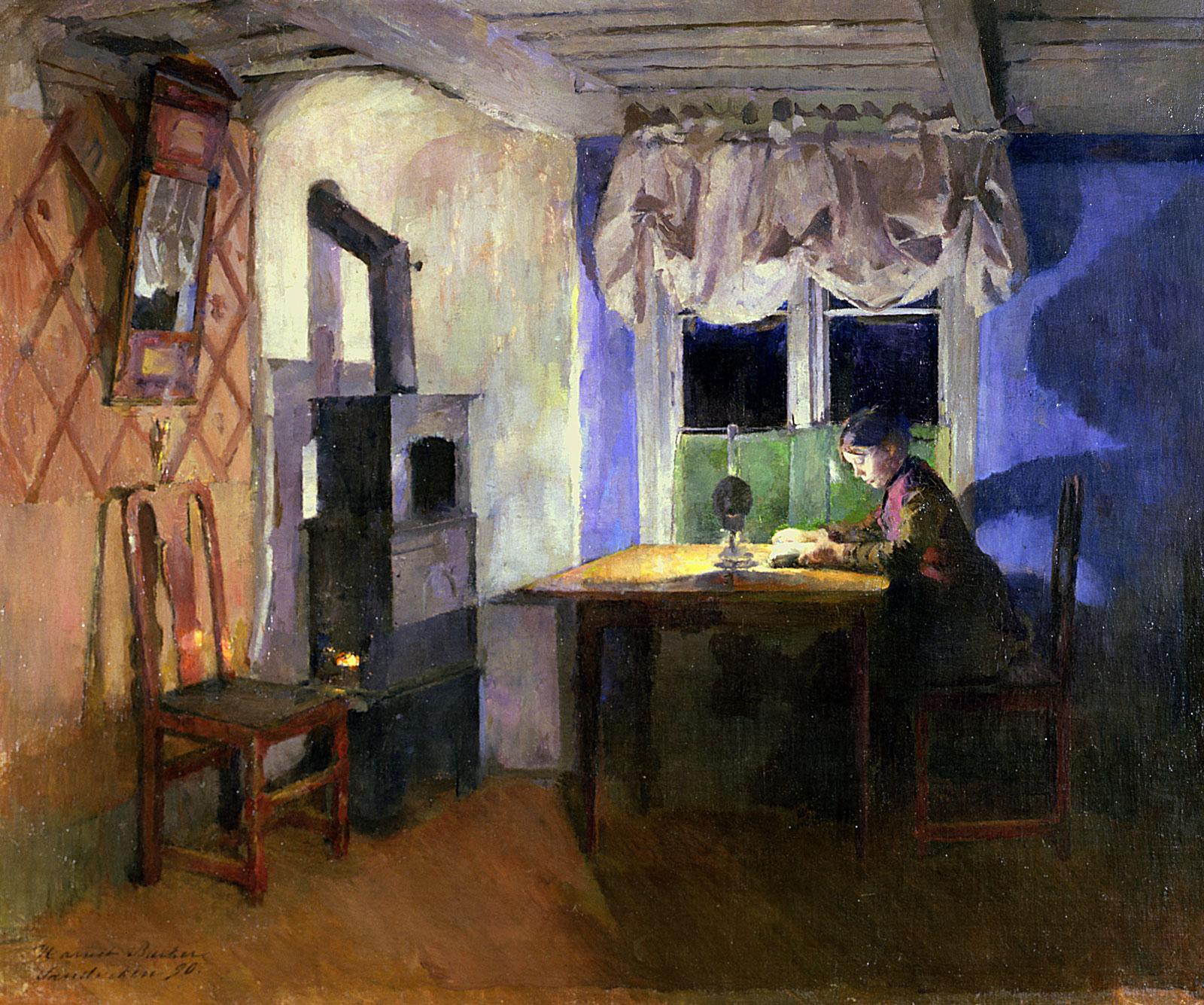 Harriet Backer: By Lamplight, 1890