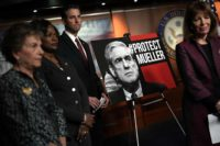 House Democrats Jan Schakowsky, Val Demings, John Sarbanes, and Jackie Speier holding a news conference in support of Special Counsel Robert Mueller, Capitol Hill, Washington, D.C., December 21, 2107