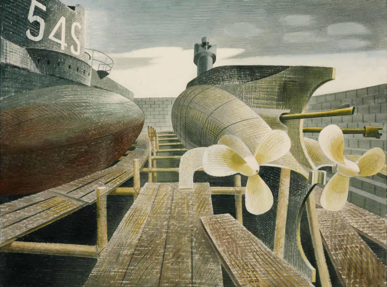 ravilious-submarines-dock