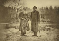 A photograph by Sophia Andreevna Tolstaya of Leo Tolstoy and Maxim Gorky, late nineteenth century