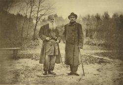 A photograph by Sophia Andreevna Tolstaya of Leo Tolstoy and Maxim Gorky, late nineteenth century