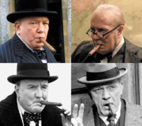 Four Churchills, clockwise from top left: Albert Finney in The Gathering Storm, 2002; Gary Oldman in Darkest Hour, 2017; Richard Burton in Walk With Destiny, 1974; and Robert Hardy in The Wilderness Years, 1981