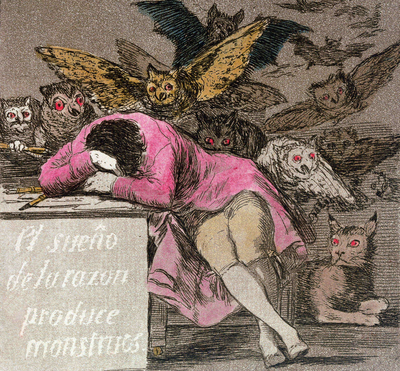 Francisco Goya: Detail from The Sleep of Reason Produces Monsters, circa 1810