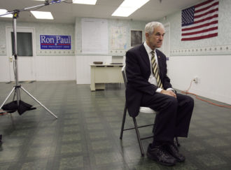 Texas Congressman Ron Paul, at his Republican presidential primary campaign headquarters in Concord, New Hampshire, in November 2007