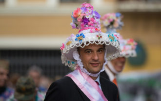 A Vaquilla member from Fresnedillas de la Oliva in costume, at a parade in Zamora, Spain, 2015