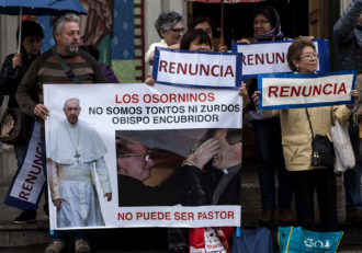 Catholics protesting in Osorno, Chile, on January 4, 2018, against Bishop Juan Barros, who was appointed in 2015 by Pope Francis despite accusations of his having protected a pedophile priest