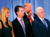 President-elect Donald Trump with Ivanka Trump, Donald Trump Jr., and Vice President–elect Mike Pence at a news conference at Trump Tower, New York City, January 2017