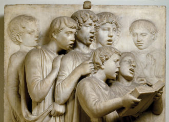 Luca della Robbia the Elder: detail from the Cantoria (choir loft), in the Museo dell'Opera del Duomo, Florence, Italy, 1431–1438