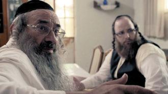 Doval'e Glickman as Shulem Shtisel (left) in a scene from the Israeli TV show Shtisel