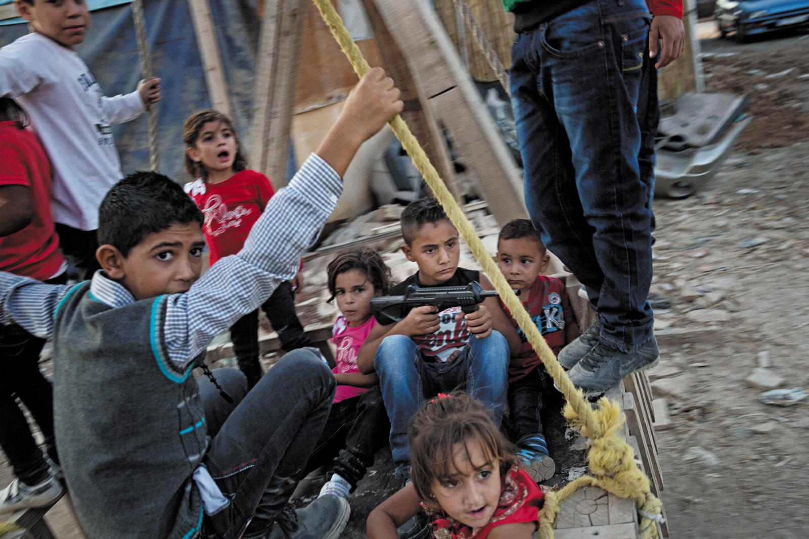Syrian children from Homs in Tripoli, Lebanon, October 2013