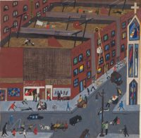 Jacob Lawrence: Harlem Street Scene, 1942