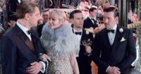Leonardo DiCaprio as Jay Gatsby, Carey Mulligan as Daisy Buchanan, Tobey Maguire as Nick Carraway, and Joel Edgerton as Tom Buchanan, in Baz Luhrmann's The Great Gatsby, 2013,
