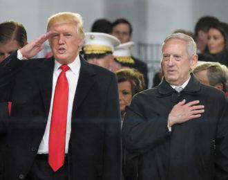 President Donald Trump and Defense Secretary James Mattis outside the White House on Inauguration Day, January 2017
