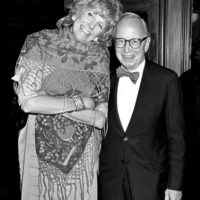 Alexandra and Arthur Schlesinger Jr. at Tavern on the Green, New York City, May 1987; photograph by Ron Galella