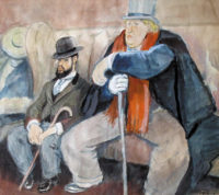 'Interior of a Café with Toulouse-Lautrec and Oscar Wilde'; undated watercolor by Ricard Opisso