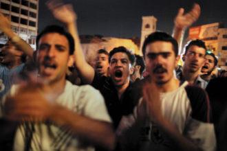 Protesters against the regime of Bashar al-Assad, Hama, Syria, July 2011