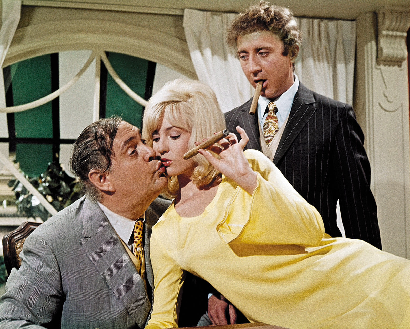 Zero Mostel, Lee Meredith, and Gene Wilder in Mel Brooks's The Producers, 1967