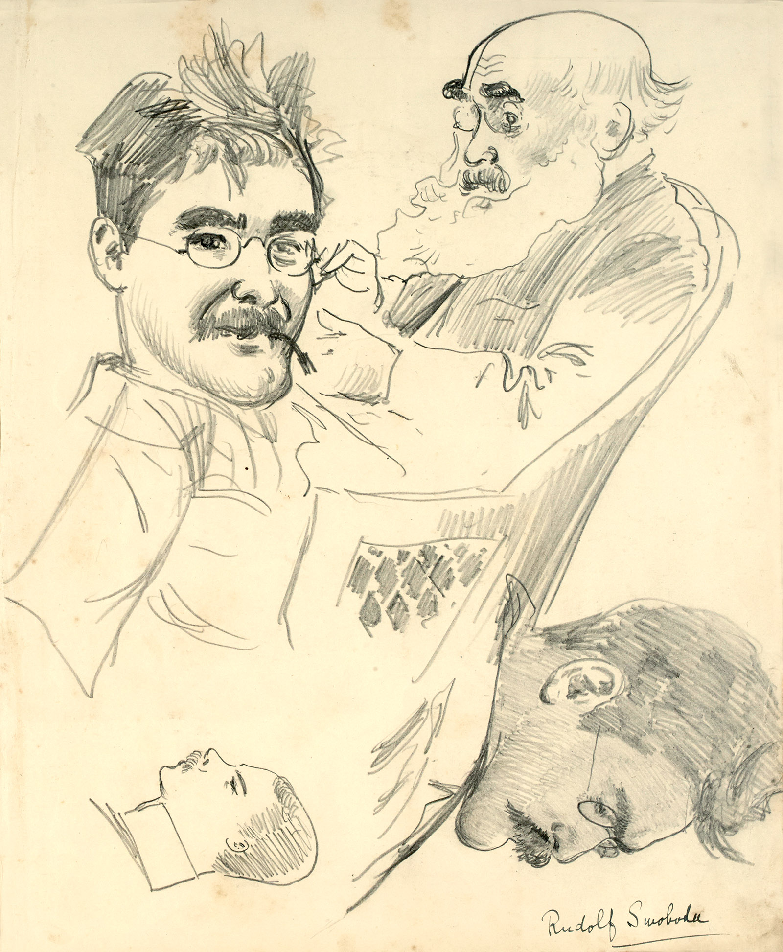Rudolf Swoboda: Sketch of John Lockwood Kipling and sketches of Rudyard Kipling, circa 1887–1888